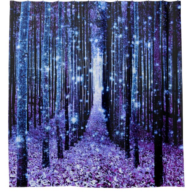 magical forest path purple blue shower curtain zazzle com