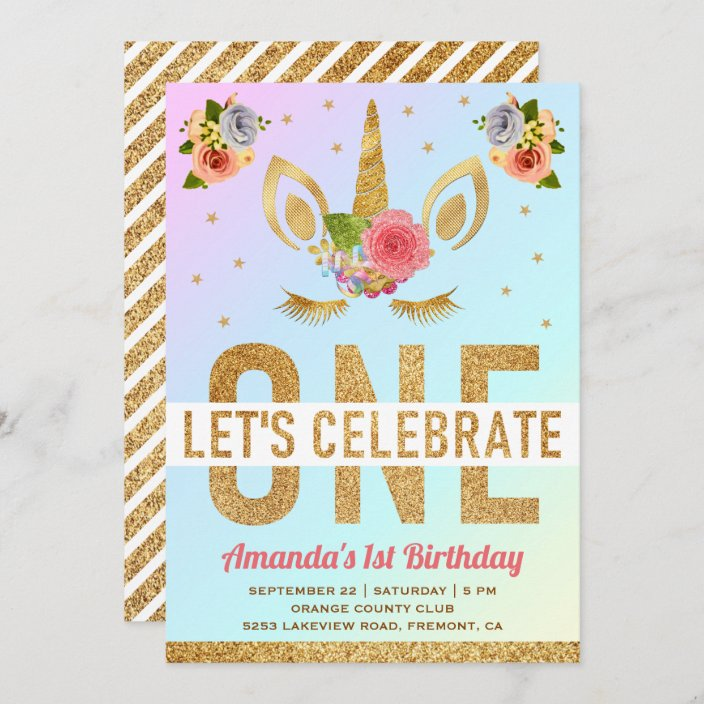 magical gold glitter unicorn 1st birthday party invitation zazzle com