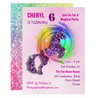 Magical Rainbow Unicorn Cute Girly Party Invite