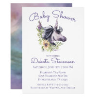 Magical Unicorn Baby Shower | Modern Watercolor Card