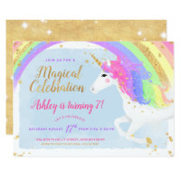 Magical Unicorn Birthday Invitation | Gold Rainbow