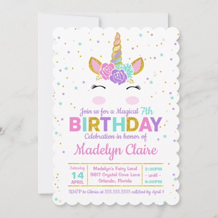 magical unicorn birthday party invitation zazzle com