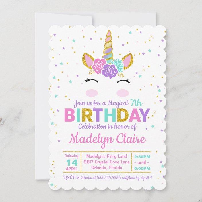 magical unicorn birthday party invitation zazzle com