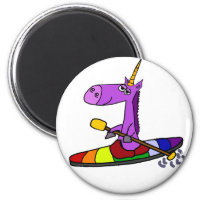 Magical Unicorn Kayaking Art Magnet