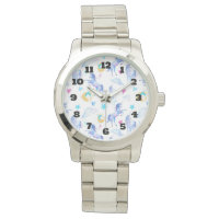 Magical Unicorn Pattern Watercolor Fantasy Design Wristwatch