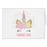 Magical Unicorn Thank You Card Pink Gold Unicorn