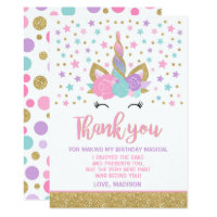 Magical Unicorn Thank You Card Unicorn Party