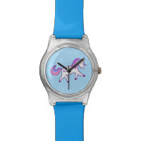 Magical Unicorn with Pink, Purple, and Blue Mane Wristwatch