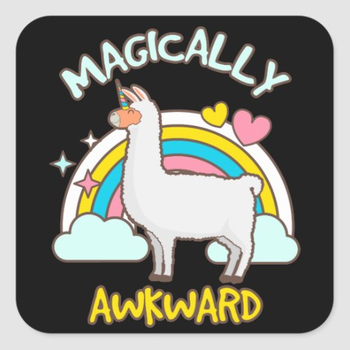 Magically Awkward Llamacorn Llama Unicorn Lovers Square Sticker