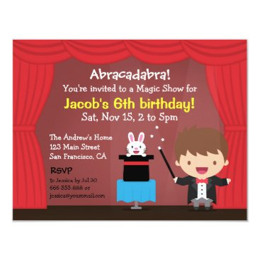 Magician Boy Magic Kids Birthday Party Invitations