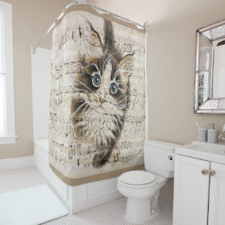 Maine Coon Kitty music Shower Curtain