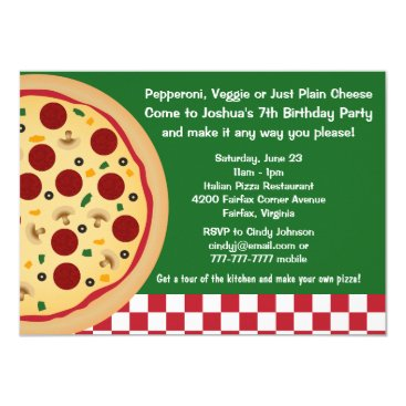Make Your Own Pizza Kids Birthday Party Invitation