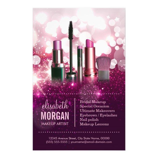 Makeup Artist Cosmetician Pink Beauty Glitter Flyer