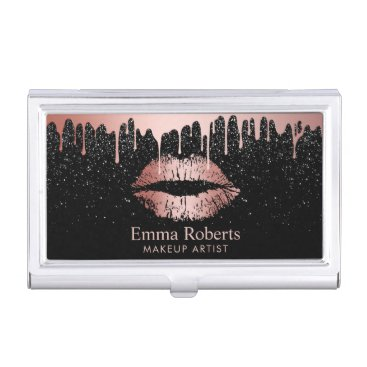 Makeup Artist Dripping Rose Gold Lips Glitter Case For Business Cards