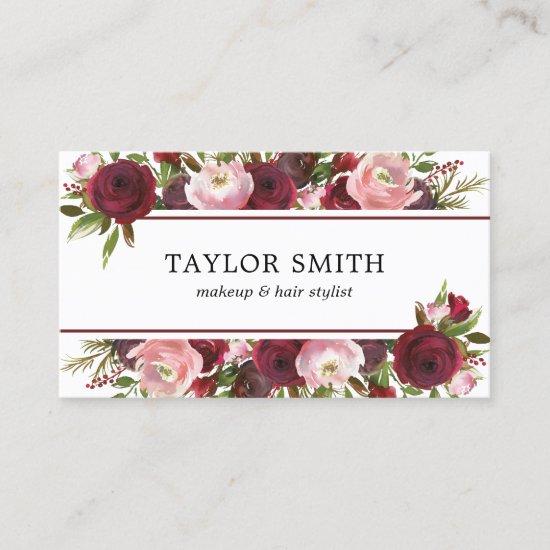 Makeup Artist Hair Stylist Burgundy Blush Floral Business Card