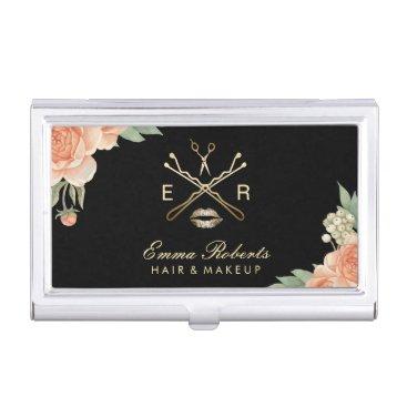 Makeup Artist Hair Stylist Vintage Floral Salon Business Card Case