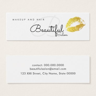 makeup / beauty salon monogram with gold lips mini business card
