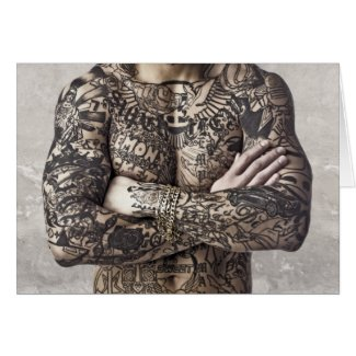 Male Body Tattoo Photograph Greeting Card