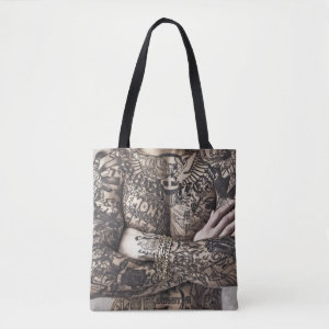 Male Body Tattoo Photograph Tote Bag