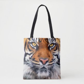 Male Siberian Tiger Paint Photo Tote Bag