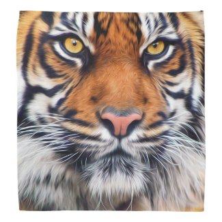 Male Siberian Tiger Paint Photograph Bandana