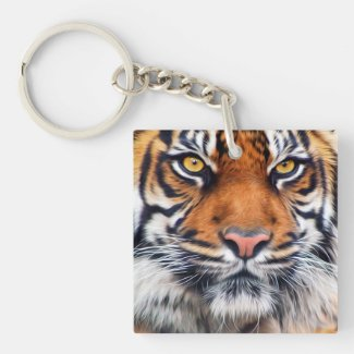 Male Siberian Tiger Paint Photograph Keychain