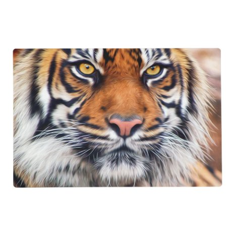 Male Siberian Tiger Paint Photograph Placemat
