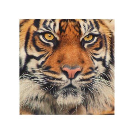 Male Siberian Tiger Paint Photograph Wood Wall Art
