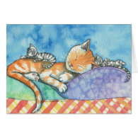 Mama and the Twins Cats Card by Molly Harrison
