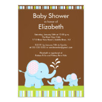 Mama & Baby Elephants Twins Baby Shower Boy Girl Card