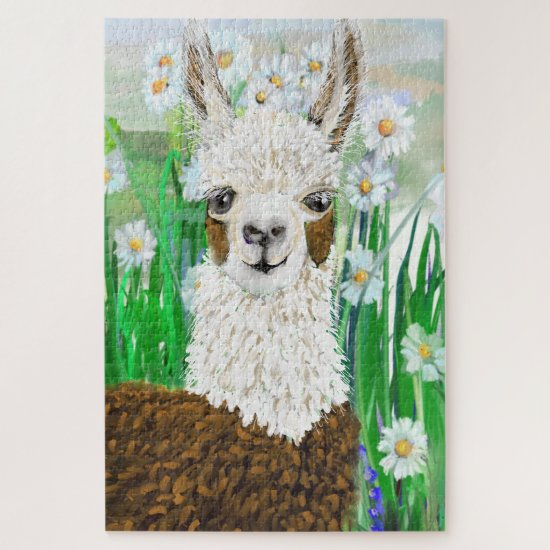 Mama Llama and Daisies Jigsaw Puzzle