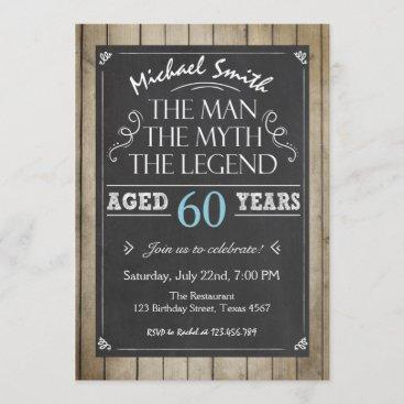 Man Birthday invitation Chalkboard Rustic Adult