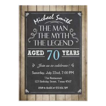 Man Birthday invitation Chalkboard Rustic Adult 70