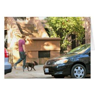Man walking dog in Brooklyn