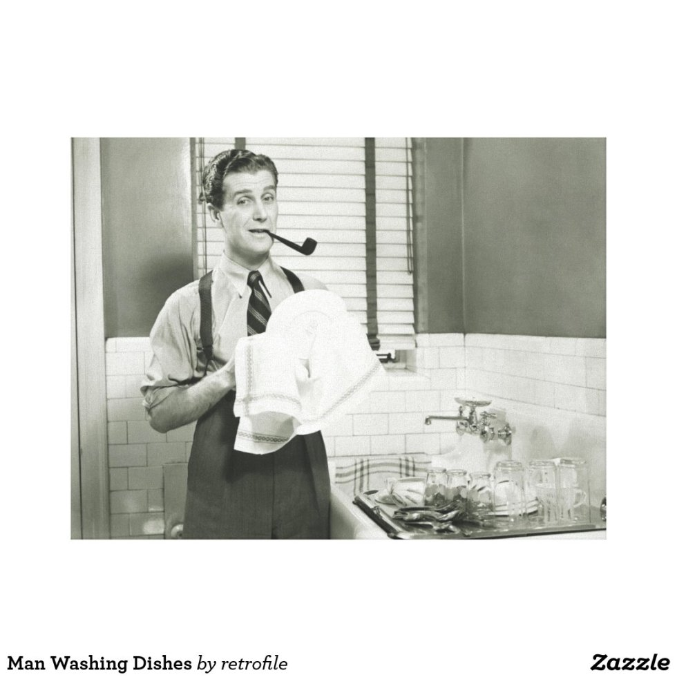 Man Washing Dishes Canvas Print