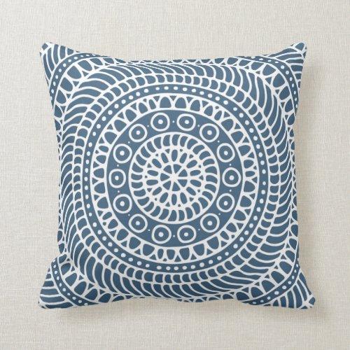 Mandala Doodle Dark Denim Blue Throw Pillow