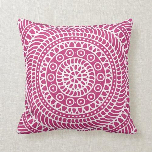 Mandala Doodle in Magenta Throw Pillow