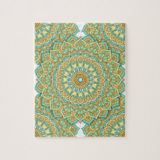Mandala Puzzle in Green/Yellow