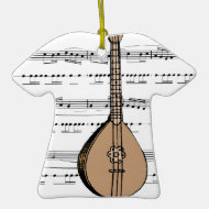 mandolin lute and sheet music christmas tree ornaments