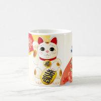 Maneki Neko Japanese Fortune Cat Coffee Mug