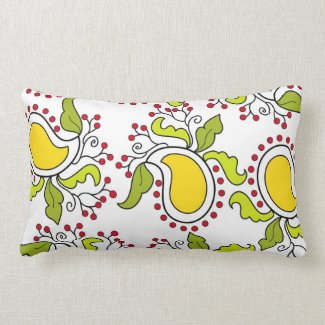 Mango and leaves paisley pattern pillow