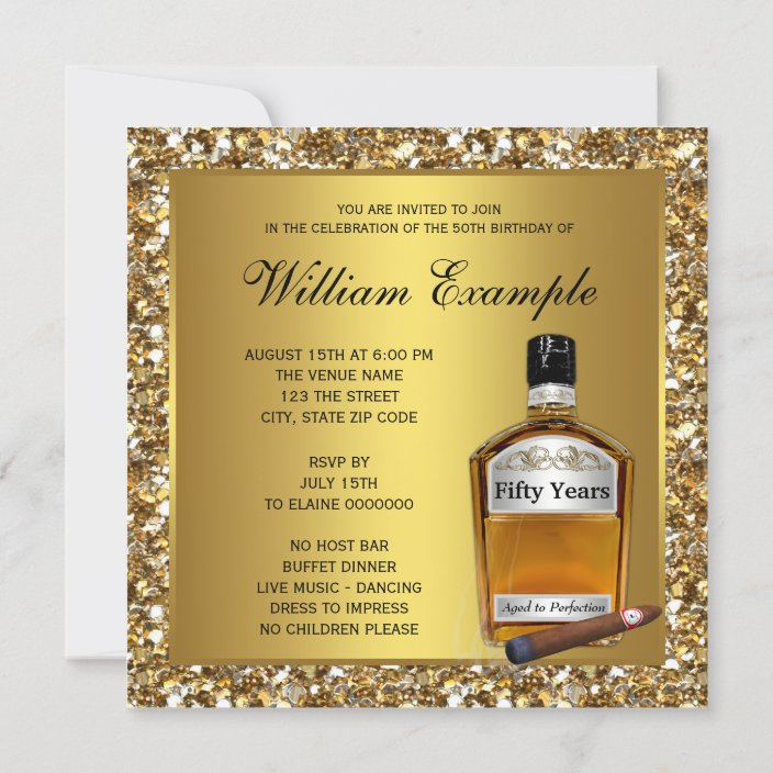 mans gold aged to perfection whiskey birthday invitation zazzle com
