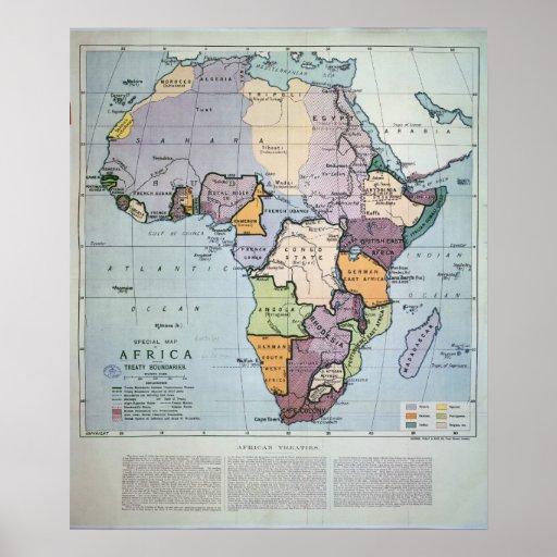 Map of Africa showing Treaty Boundaries, 1891 Print