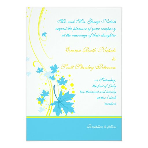 Maple leaves turquoise yellow wedding invitation