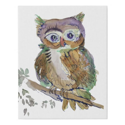 Marbelous Woot Owl Faux Canvas Print