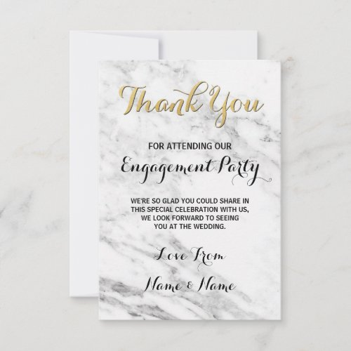 Marble Gold Thank You Card Engagement Deco Wedding