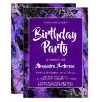 Marble Purple Space Galaxy with Stars Birthday Card