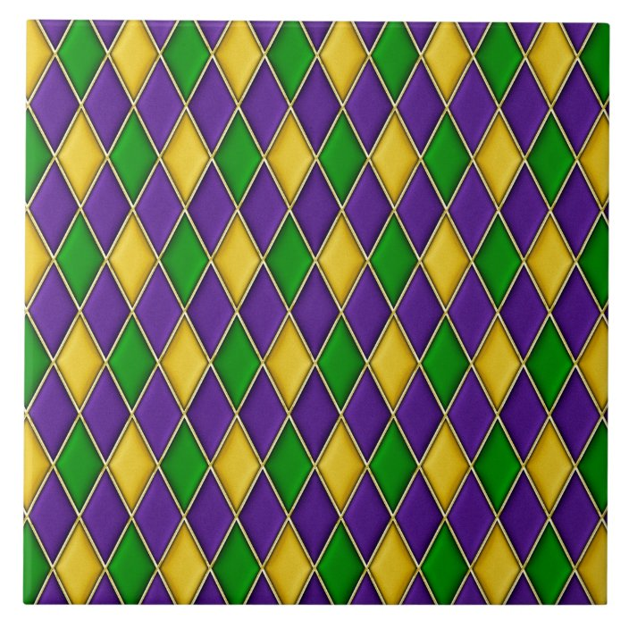 mardi gras harlequin diamond pattern tiles zazzle com