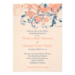 Marine Blue Coral Peach Floral Wedding Invitation