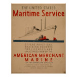 Maritime Service Large Ship With Tugboats WPA Poster